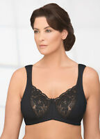 NEW Bra msrp $39 Satin & Lace ~WIDE-PADDED-STRAPS~ (5% SPANDEX) Black CLEARANCE!