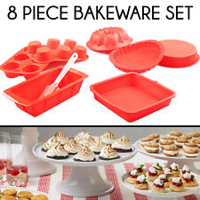 8 PC Silicone Cake Molds Non Stick Baking Tray Pans Spatula Mould Bakeware Set