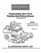 Cub Cadet Zero Turn Z-Force 44 & 50 Parts Manual