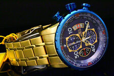 Invicta Aviator 48MM 18K Gold Plated Blue Dial Chrono Tachy S.S Bracelet Watch