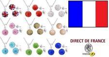 Lot de 5 parures shamballa Boucles d oreilles et colliers revendeur bijoux