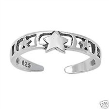 Three Star Toe Ring Fashion Beach Adjustable Jewelry Sterling Silver 925