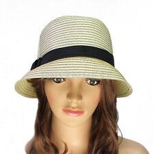 Chapeau De Paille Plage D'été Soleil Mode Simple Ruban Canôtier Femme Homme Mode