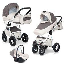 3in1 Kombikinderwagen MONDO ECCO Cappucino Babywanne Buggy Babyschale Alu Leder