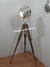 Nautical Spot Search Light Lamp With Brown Tripod Stand Home Decor