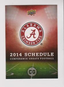 2014 Upper Deck Conference Greats #9 Alabama Crimson Tide team schedule card