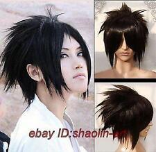 Uchiha Sasuke ,noir court Bouclé animation Cosplay fête plein cheveux perruques