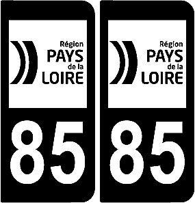 2 stickers style plaque immatriculation AUTO noir et blanc full black  85