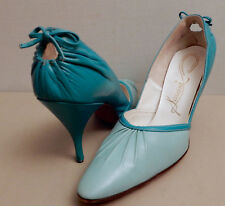 "Vintage-""Scasini&#03 4; Heels Shoes 50's w/Bow Two Turquoise Blue Tone Color Elegant✨"