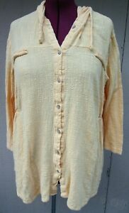 VINTAGE YELLOW TEXTURED GAUZE LONG SLEEVE HOODED BUTTON UP SZ 24