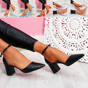 WOMENS LADIES HIGH BLOCK HEEL ANKLE STRAP POINTED PUMPS WOMEN PARTY SHOES SIZE
