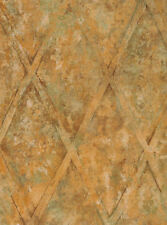 Large Diamond Lattice Wallpaper in Brown, Rust, Cream & Green on Faux Background