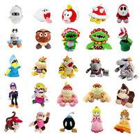 5~12'' Super Mario Bros Plush Toys Magikoopa Kamek Waluigi Bowser Koopa Jr. Lot