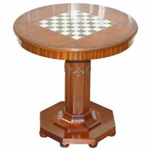 CIRCA 1900 FULLY RESTORED FRENCH EMPIRE MAHOGANY CHESS TABLE MARBLE ORMOLU MOUNT