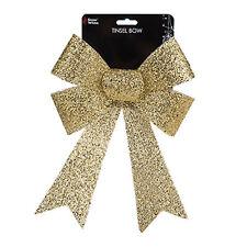 Christmas Tinsel Bow Tree Decoration - Gold 22cm x 32cm