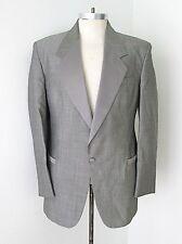 MINTY Vtg Gray S&P Tuxedo Formal Prom Blazer Smoking Jacket Satin Trim 39