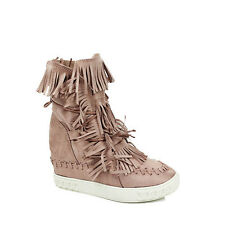 WOMENS LADIES WEDGE HEEL TASSLE HIGH TOP SNEAKERS PUMPS BOOTS SHOES SIZE 3-7