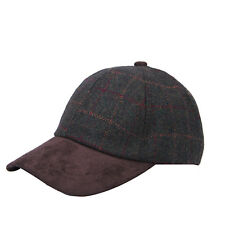 Heritage Traditions Womens Mens Green Tweed Suede Baseball Casual Skip Cap Hat