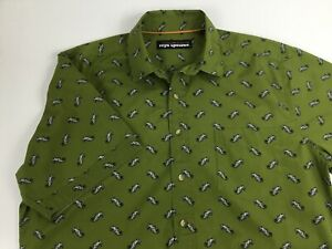 Reyn Spooner Men's Large Green Seahorse Button Up Short Sleeve Cotton Shirt
