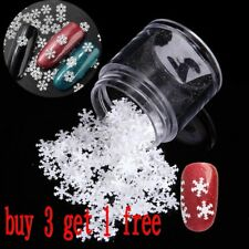2017 3d Nail Art Christmas Snowflakes Stickers Glitter DIY Decoration 1g/box