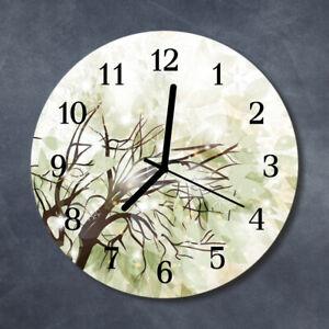Tulup Reloj de pared de cristal cocina silencioso redondo 30 cm Árbol Naturaleza