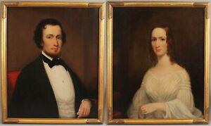 19thC 1844 Life-Sized Antique OTIS BULLARD American Portrait Oil Paintings, NR
