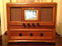 "Retro Vintage Television Set Prewar 1941 Art Deco  Style B&W  5""  Screen"
