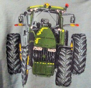 John Deere boy's blue t-shirt w/gray long sleeves w/John Deere tractor on front