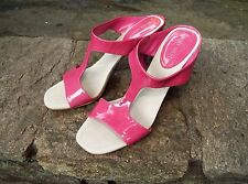 NINE WEST PINK OPEN TOE, Patent Leather Slip On Sandals, Elettra Sandals 7.5M
