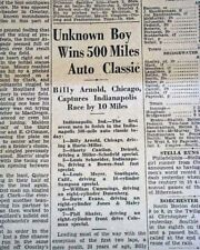 BILLY ARNOLD Wins Most Dominant Indianspolis INDY 500 in History 1930 Newspaper