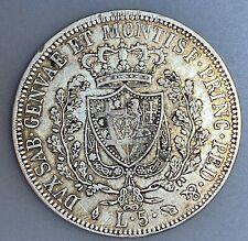 Italian States SARDINIA 5 Lire 1826 A.LAVY//L (a)    KM# 116.1     VF