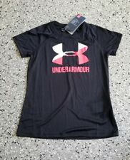New Under Armour Youth Girl's Loose Fit Graphic Black  T-Shirt Top Tee Medium