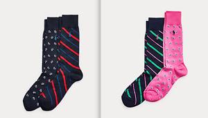 POLO RALPH LAUREN Set Of 2 Pairs Men's Paisley & Striped Dress Socks