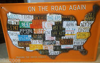 USA FLAG/ LICENCE PLATES/TAGS, EMBOSSED(3D)  METAL SIGN- 30X20CM, ON THE ROAD