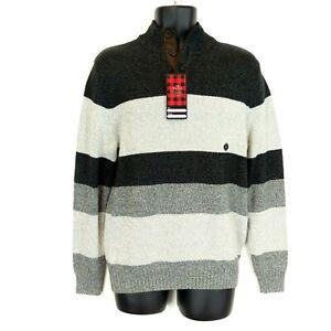 New NWT Chaps Men's Small Gray Color Block Cotton 1/4 Button Pullover Sweater
