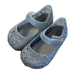 MINI MELISSA Campana Toddler Girls Silver Glitter Jelly Strap Shoe Mary Jane