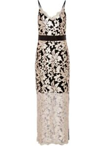 Abendkleid Gr 40 schwarz gold sexy Spitzenkleid Maxikleid Pailletten Kleid neu