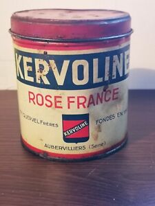 Ancien Pot de graisse KERVOLINE rose France , bidon d'huile