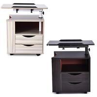 Nightstand Bedside Bedroom End Table Drawers Storage Wood Shelf Living Room US