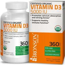 Bronson Vitamin D3 5000 IU Certified Organic Non-GMO, USDA Certified,360 Tablets
