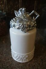 """Arthur Court GRAPE COLLECTION 10-7/8"""" White Canister with Grape Lid~~Retired!"""
