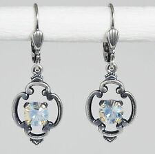 Ohrring Ohrhänger Silber Swarovski Kristall Vintage retro Crystal Moonlight klar