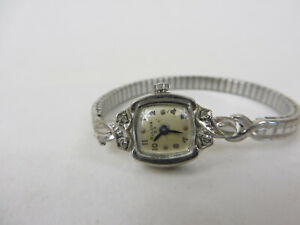 Vtg Ladies 23 Jewel Bulova White Rolled Gold with Diamonds Running Wind Up
