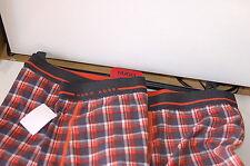 NWT HUGO BOSS XL BOXER PLAID ORANGE/BLK PRINT LOGO COTTON VAL.$27