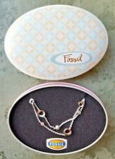 Fossil bracelet 925 Sterling Silver Sparkly Glitz Stones Gift Tin Chain Womens
