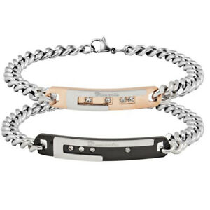 Mens Women Lover Couples Stainless Steel Crystal Bracelet Bangle Wristband Chain