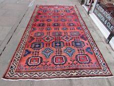 Vintage Worn Hand Made Traditional Oriental Wool Pink Green Long Carpet 323x175m