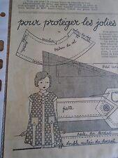 """PATRON ORIGINAL POUR LA POUPEE """" BLEUETTE ROBE TABLIER VICHY JUILLET 1936"""