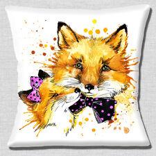 """CUTE MALE & FEMALE FOX BOW PINK BLACK WHITE ARTISTIC 16"""" Pillow Cushion Cover"""