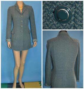ST JOHN Collection Teal Black Jacket Coat S 2 4 DUSTER DRESS Collared Back Strap